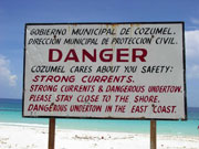 Danger sign posted at San Martin Beach