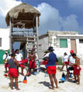 Preparing rescue equipment at Punta Morena
