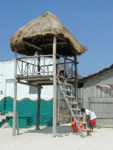 Red Cross sponsored first lifeguard tower at Punta Morena