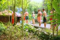Lining Up to Enter the Temazcal Steam Lodge