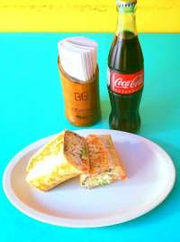 This is a Perfect Lunch - Burrito and Coke!