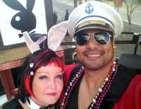 Me & Mauricio on our Hugh Hefner's Mansion Float!