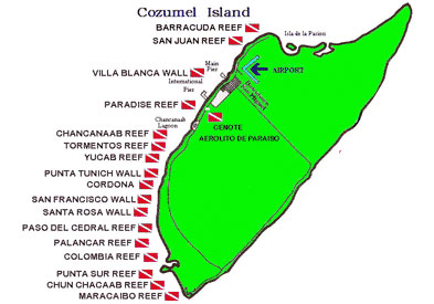 Cozumel Reef Map - Copyright © CozumelInsider